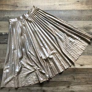 ZARA | Metallic Sparkly Pleated Skirt Ankle Length